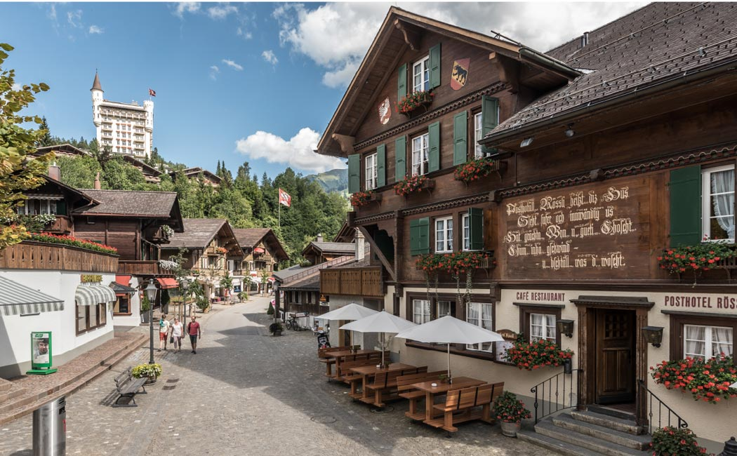 An exclusive high-end village surrounded by mountains and ski areas